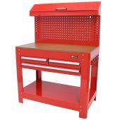 George Tools Banco da lavoro con parete portautensili, 3 cassetti rosso