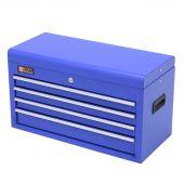 Cassetta per gli attrezzi blu in metallo con serratura e 4 cassetti