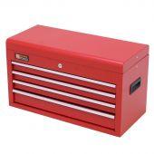 Cassetta per gli attrezzi rossa in metallo con serratura e 4 cassetti