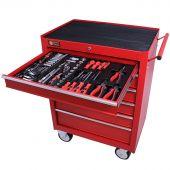 George Tools carrello portautensili con utensili 6 cassetti 144 pezzi rosso