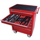 George Tools carrello portautensili con utensili 7 cassetti 144 pezzi rosso