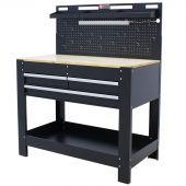 George Tools banco da lavoro con parete & LED 3 cassetti Quercia 115 cm nero