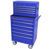 George Tools carrello porta attrezzi con cassetta e 10 cassetti blu