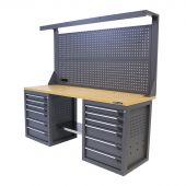 Kraftmeister banco da lavoro con parete 12 cassetti MDF 200 cm grigio