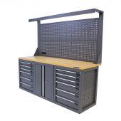 Kraftmeister banco da lavoro con parete 12 cassetti 2 porte MDF 200 cm grigio