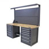 Kraftmeister banco da lavoro con parete 12 cassetti Quercia 200 cm grigio