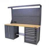 Kraftmeister banco da lavoro con parete 6 cassetti 2 porte MDF 200 cm grigio