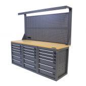 Kraftmeister banco da lavoro con parete 18 cassetti MDF 200 cm grigio