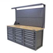 Kraftmeister banco da lavoro con parete 18 cassetti Quercia 200 cm grigio