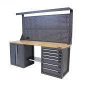 Kraftmeister banco da lavoro con parete 6 cassetti 2 porte Quercia 200 cm grigio