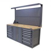 Kraftmeister banco da lavoro con parete 12 cassetti 2 porte Quercia 200 cm grigio