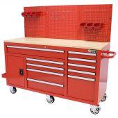 George Tools Banco da Lavoro Mobile completo 1500 mm Rosso - 156 pezzi