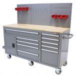 George Tools Banco da Lavoro Mobile completo 1500 mm grigio - 156 pezzi
